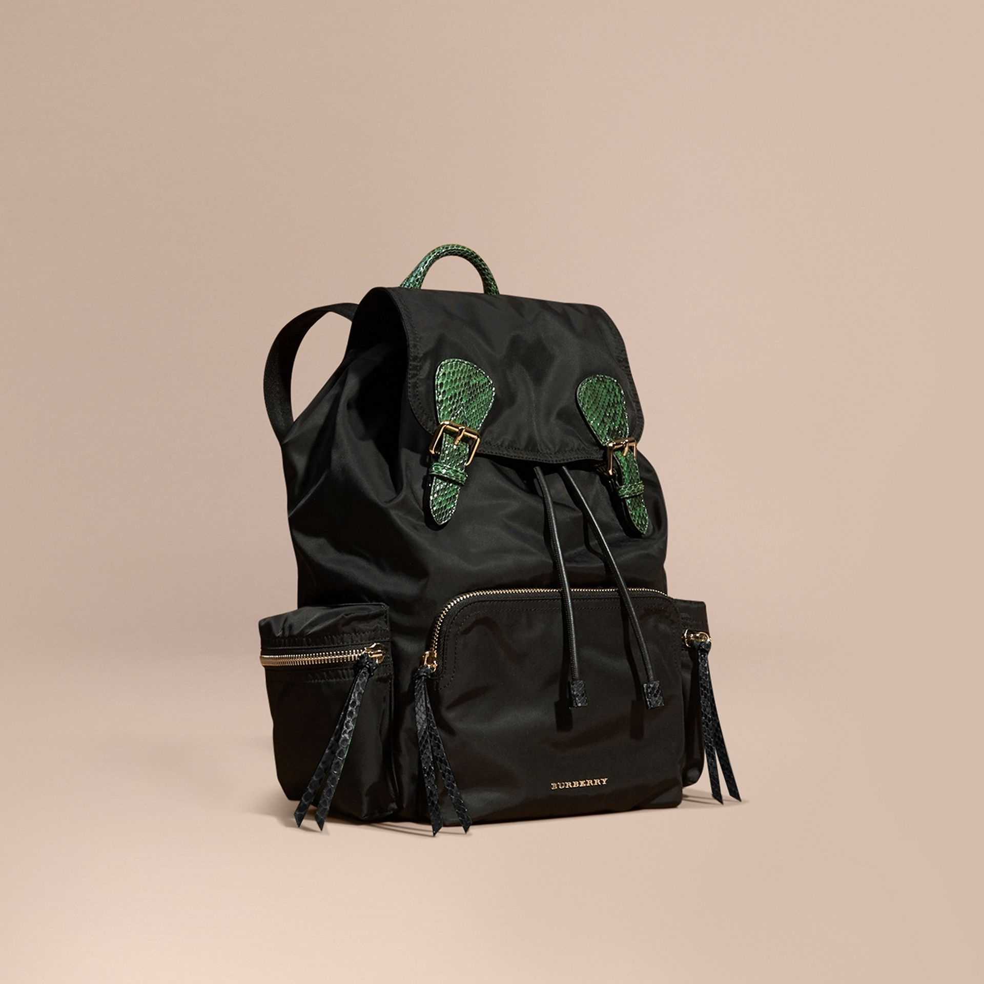 The Large Rucksack in Technical Nylon and Snakeskin in Black/bright Green - gallery image 1