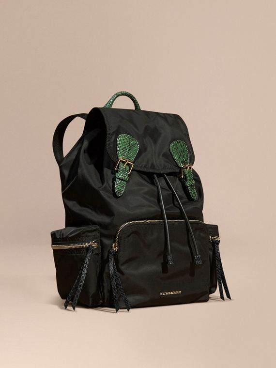The Large Rucksack in Technical Nylon and Snakeskin in Black/bright Green
