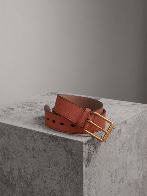 Grainy Leather Belt in Chestnut Brown