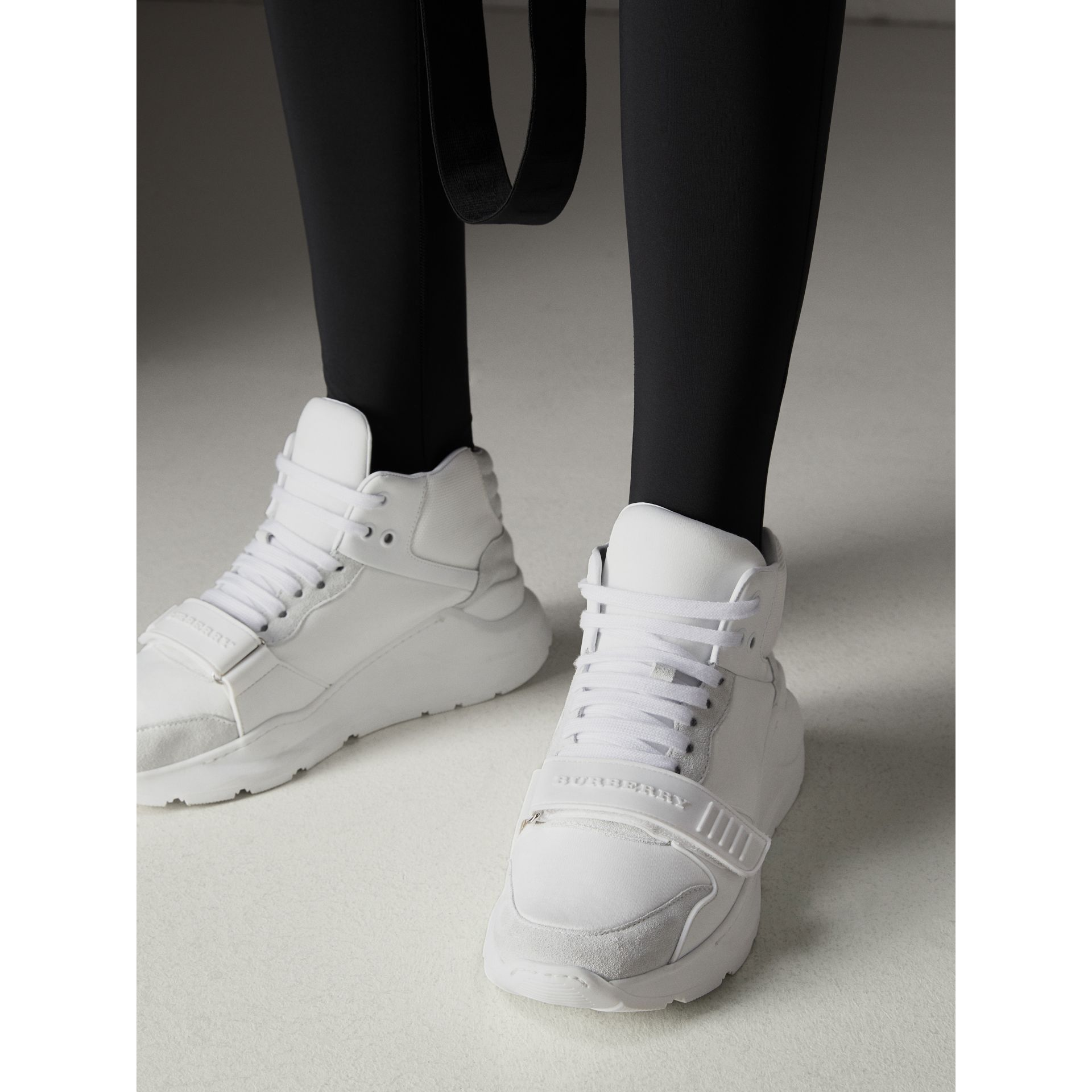 Suede Trim Neoprene High-top Sneakers in Optic White - Women | Burberry - gallery image 2