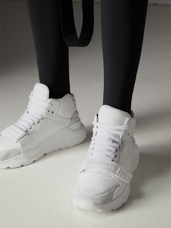 Suede Trim Neoprene High-top Sneakers in Optic White - Women | Burberry Canada - cell image 2
