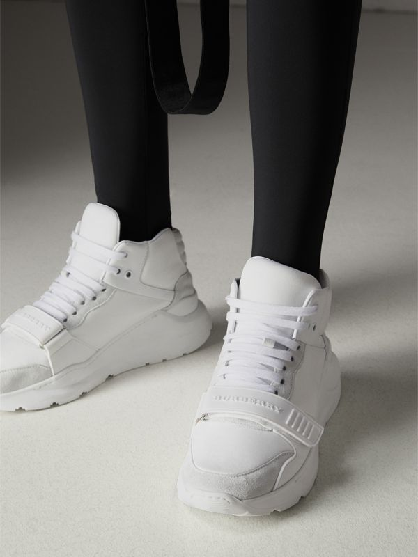 Suede and Neoprene High-top Sneakers in Optic White - Women | Burberry Singapore - cell image 2