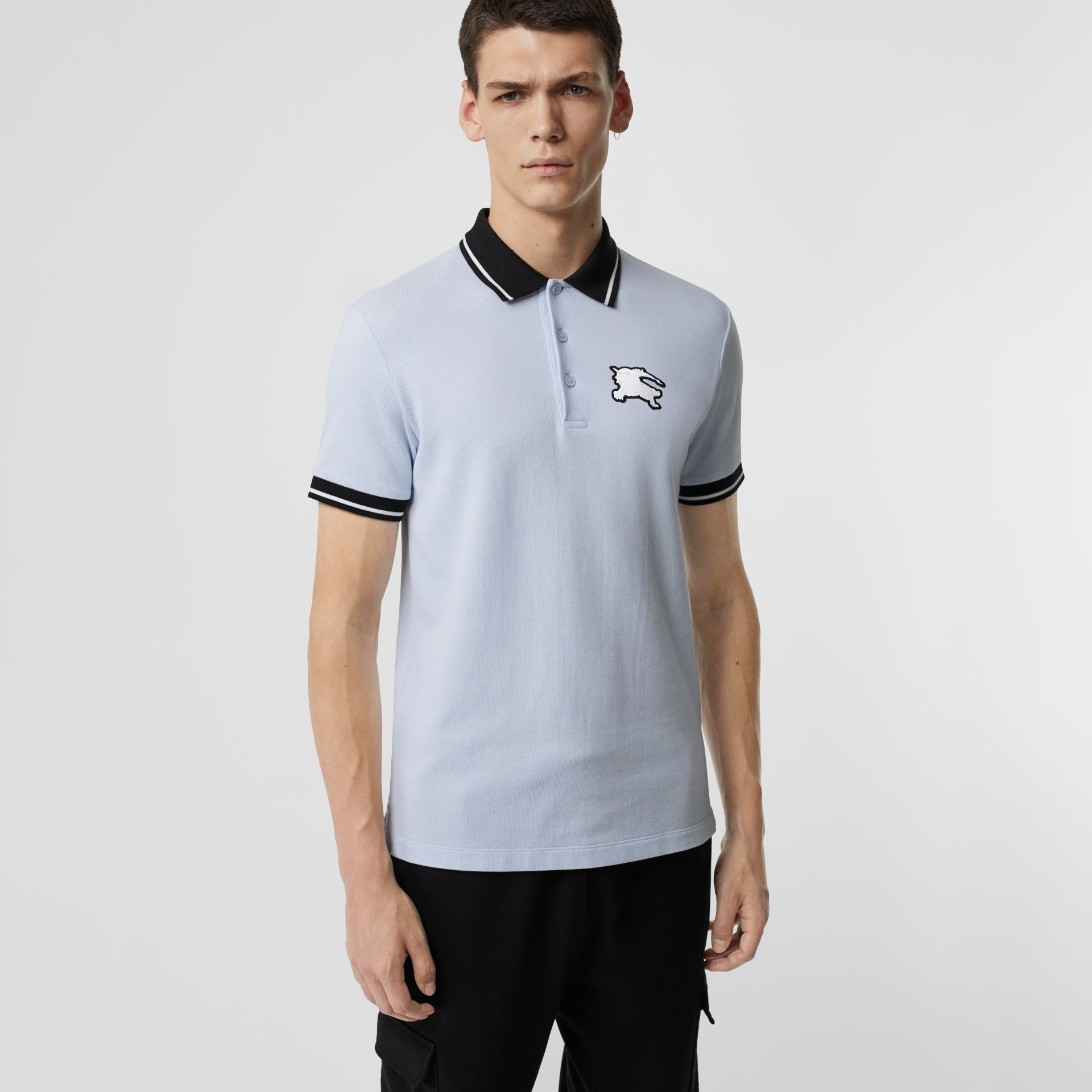 Tipped Cotton Piqué Polo Shirt in Light Indigo - Men | Burberry Canada - gallery image 4