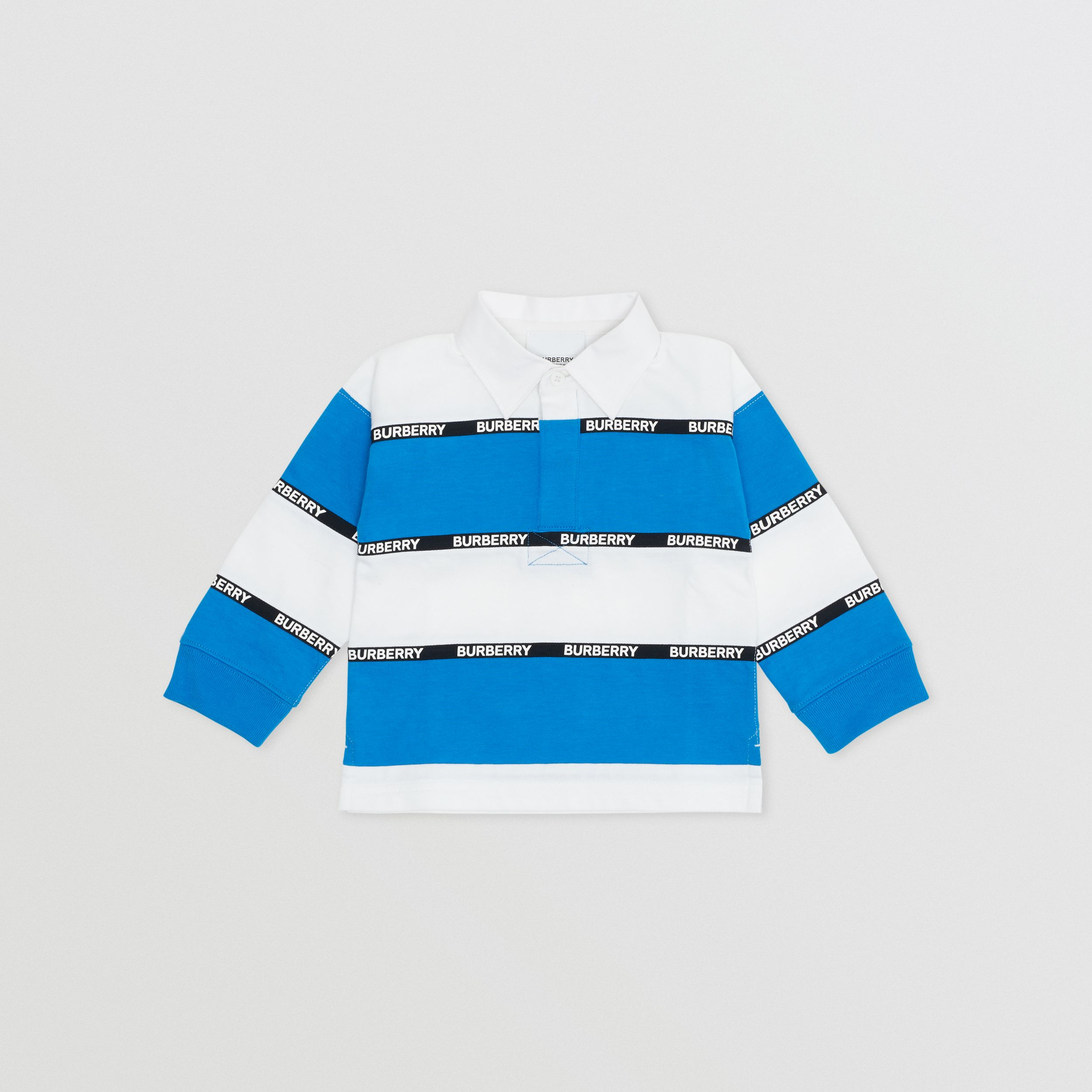 Long-sleeve Logo Tape Striped Cotton Polo Shirt - Children | Burberry - 1