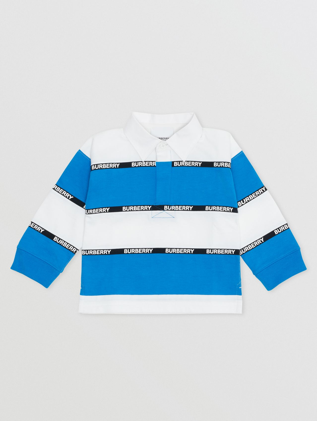 Long-sleeve Logo Tape Striped Cotton Polo Shirt