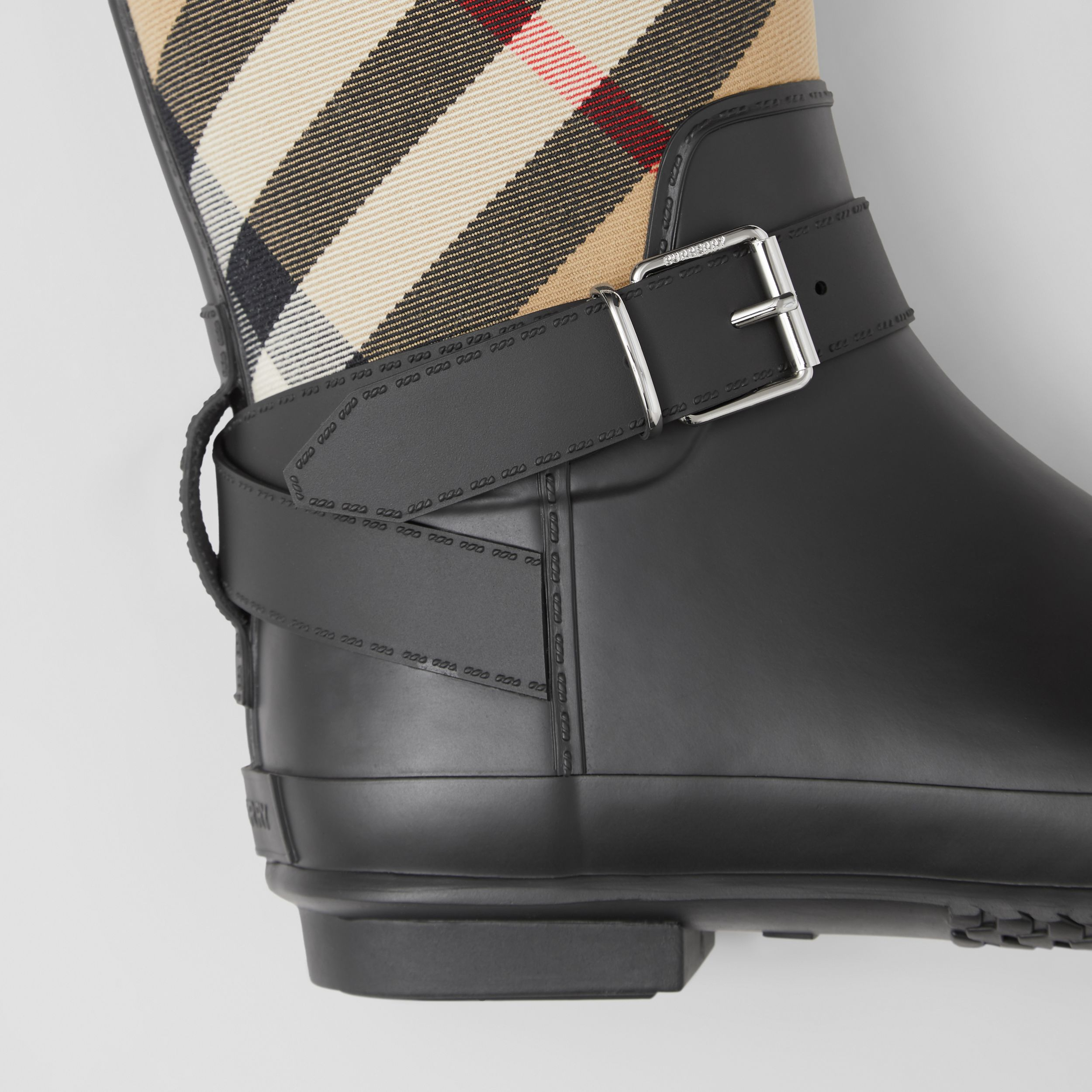 Strap Detail House Check and Rubber Rain Boots in Black/archive Beige - Women | Burberry Australia - 2