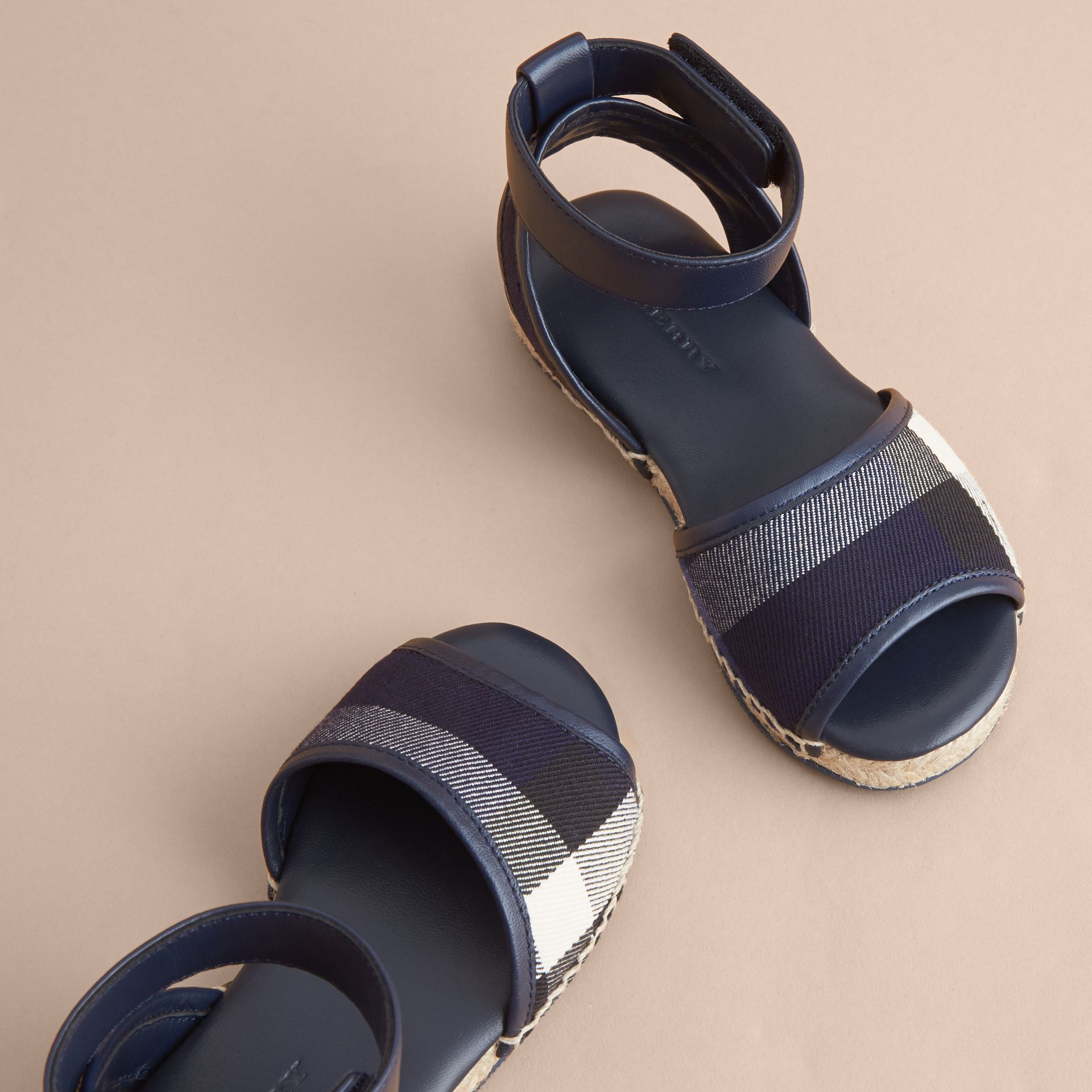 Leather Ankle Strap and House Check Espadrille Sandals in Bright Sapphire - gallery image 3