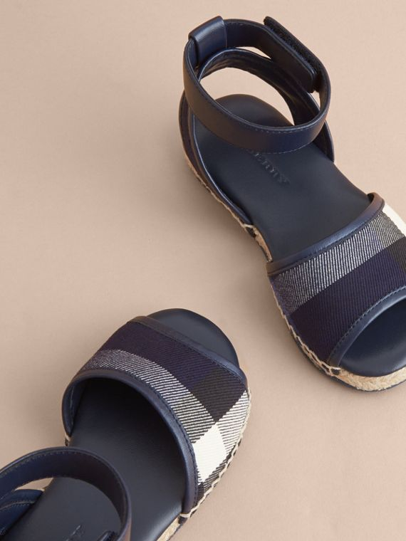 Leather Ankle Strap and House Check Espadrille Sandals in Bright Sapphire - cell image 2