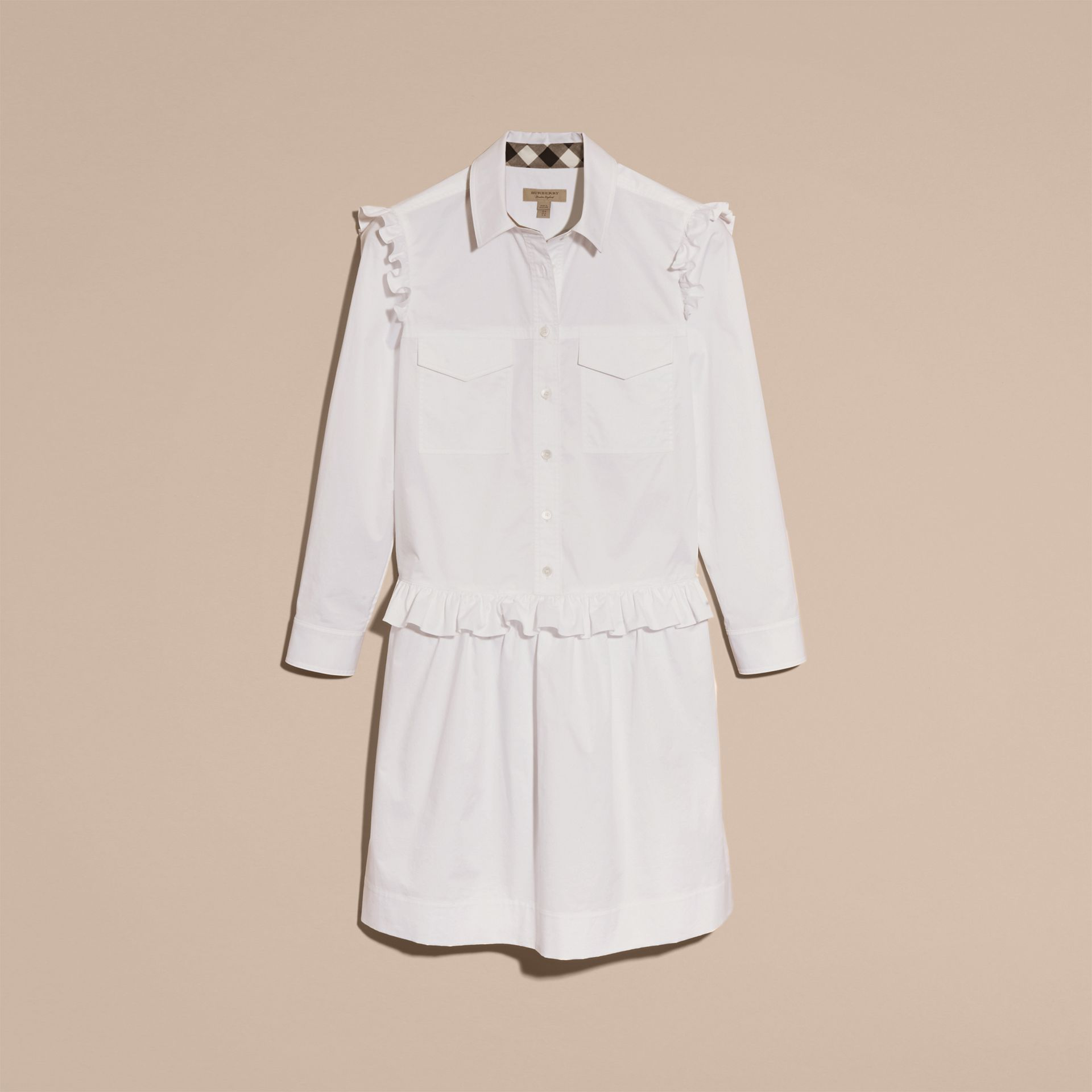 Ruffle and Check Detail Cotton Shirt Dress White - gallery image 4