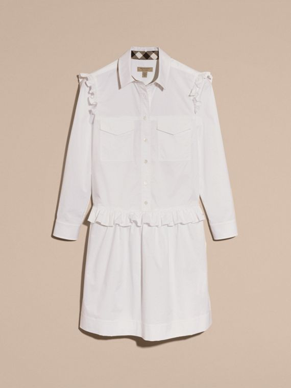 Ruffle and Check Detail Cotton Shirt Dress White - cell image 3