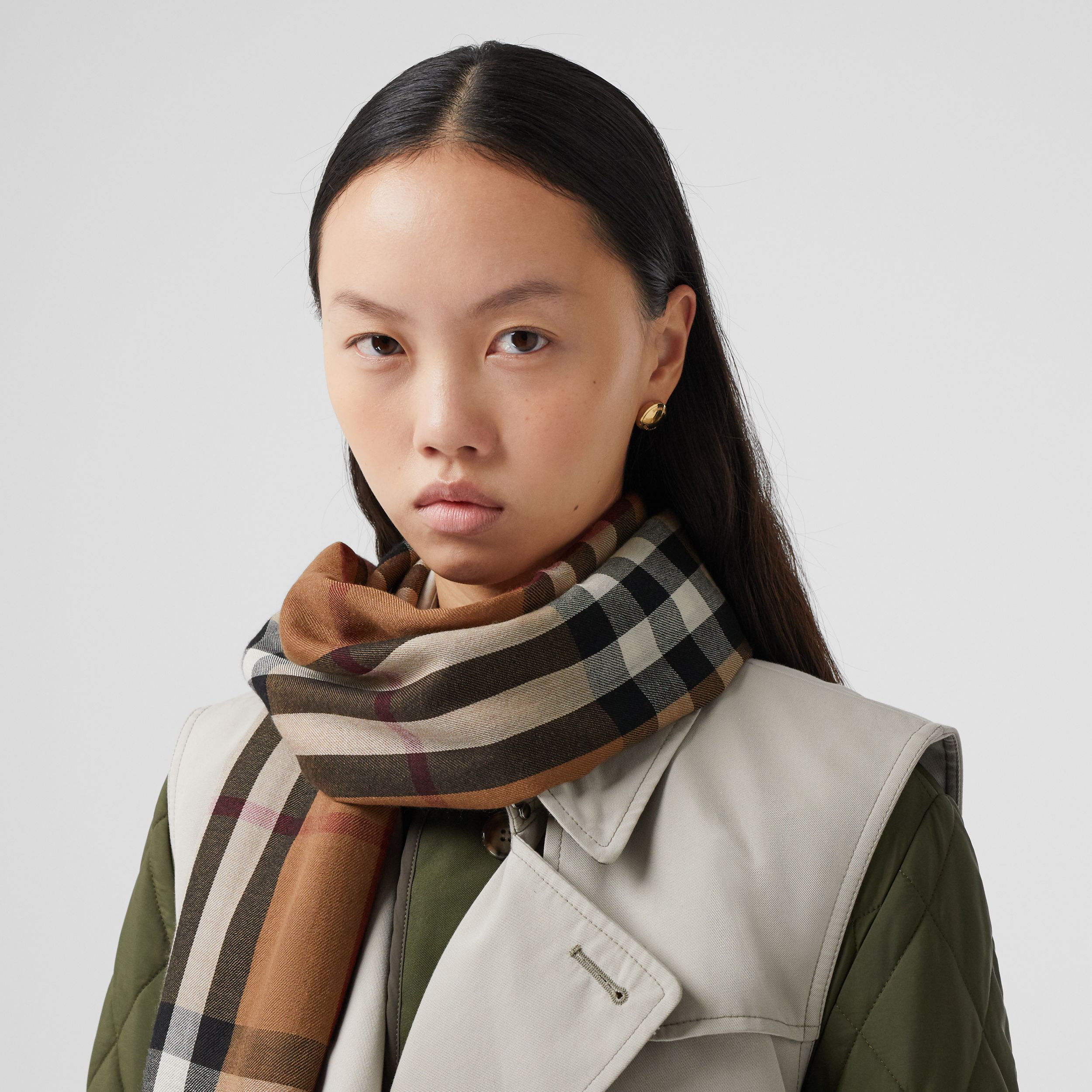 Check Lightweight Cashmere Scarf in Birch Brown | Burberry - 3