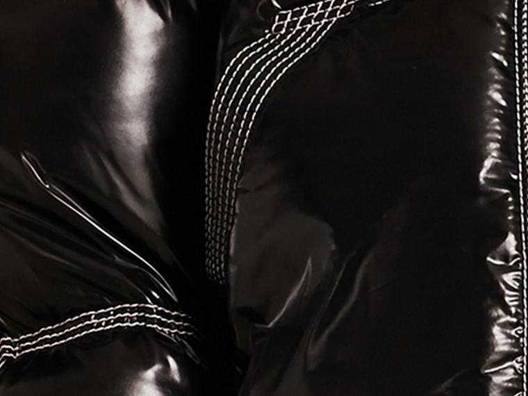 Preto Jaqueta lustrosa acolchoada com plumas com colarinho de shearling - cell image 1