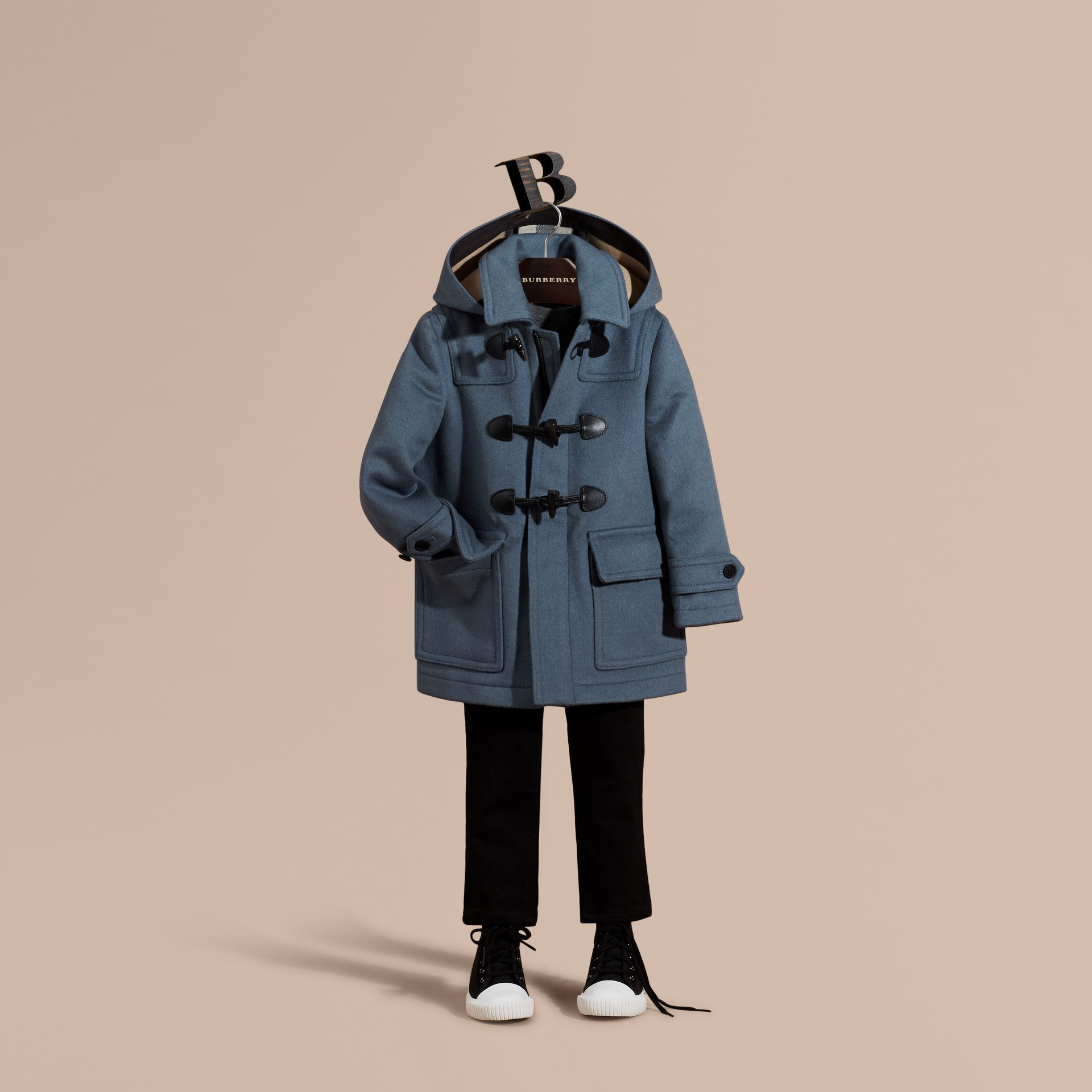 Steel blue Wool Duffle Coat with Check-lined Hood - gallery image 1