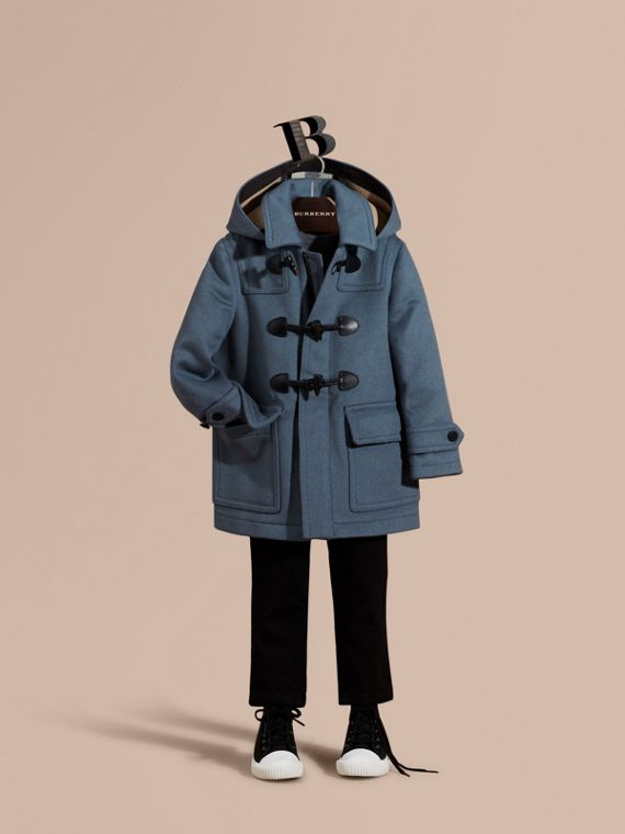 Wool Duffle Coat with Check-lined Hood Steel Blue