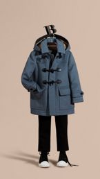 Wool Duffle Coat with Check-lined Hood