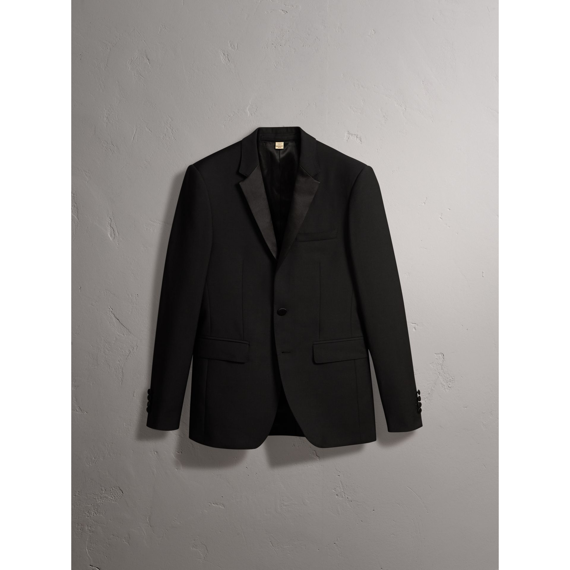 Slim Fit Wool Mohair Half-canvas Tuxedo in Black - Men | Burberry United Kingdom - gallery image 3