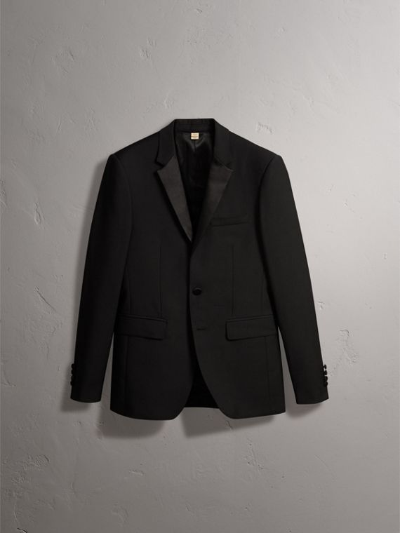 Slim Fit Wool Mohair Half-canvas Tuxedo in Black - Men | Burberry - cell image 3
