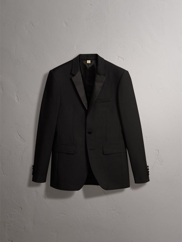 Slim Fit Wool Mohair Half-canvas Tuxedo in Black - Men | Burberry United Kingdom - cell image 3
