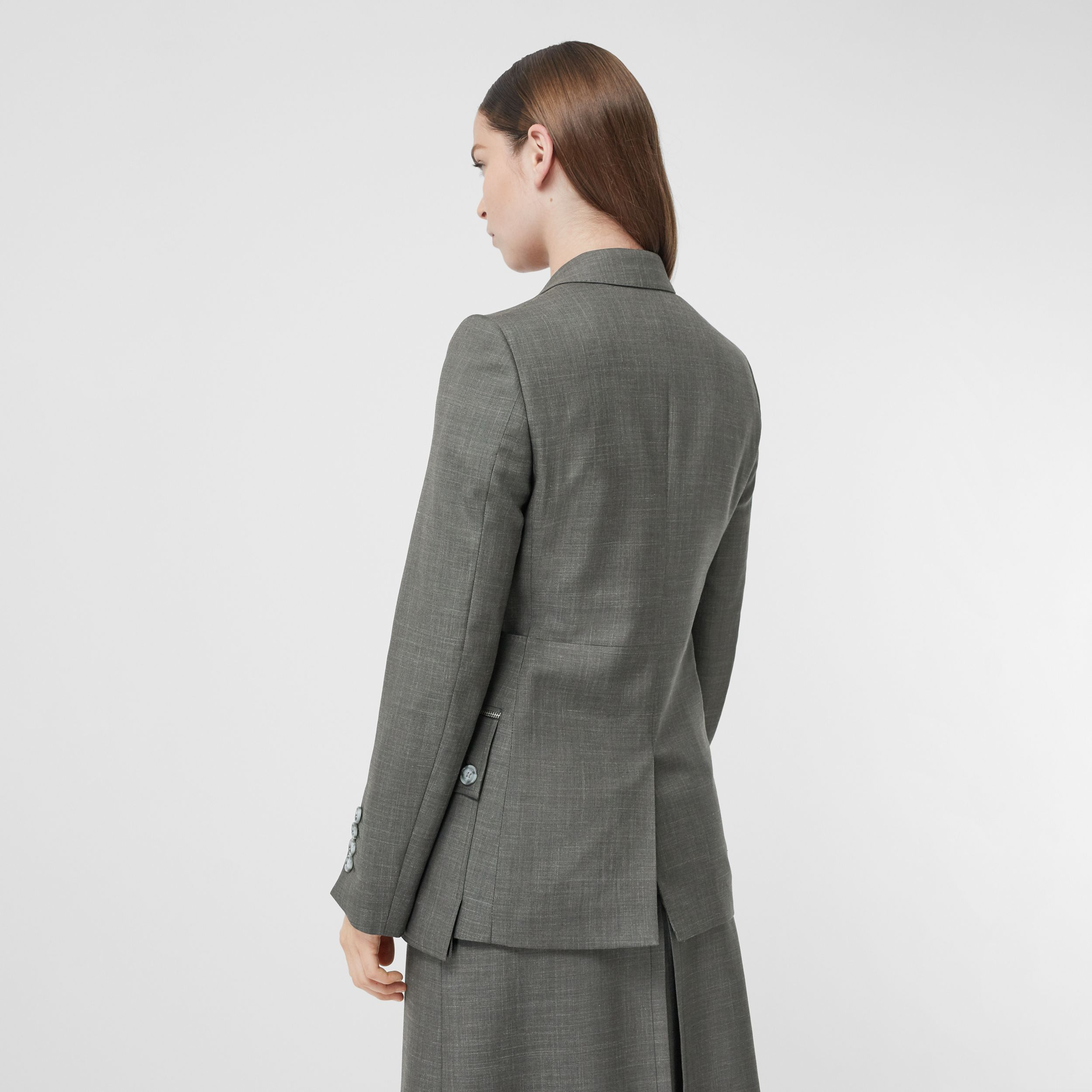 Cargo Belt Detail Wool Silk Mohair Linen Blazer in Charcoal Grey - Women | Burberry - 3
