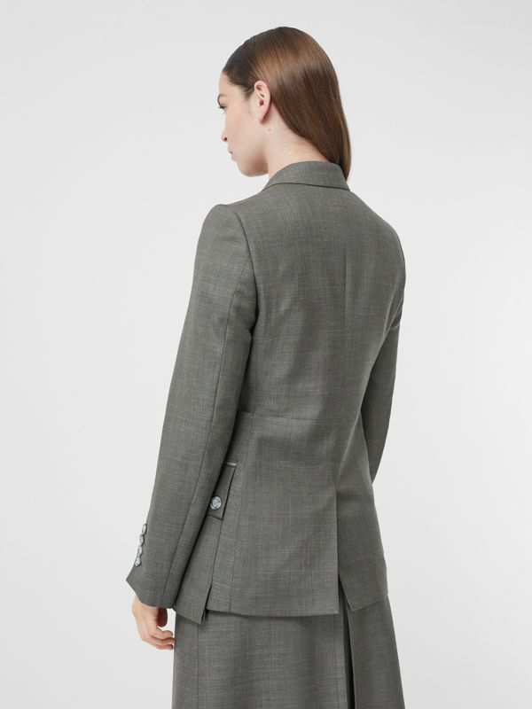 Cargo Belt Detail Wool Silk Mohair Linen Blazer in Charcoal Grey - Women | Burberry United Kingdom - cell image 2