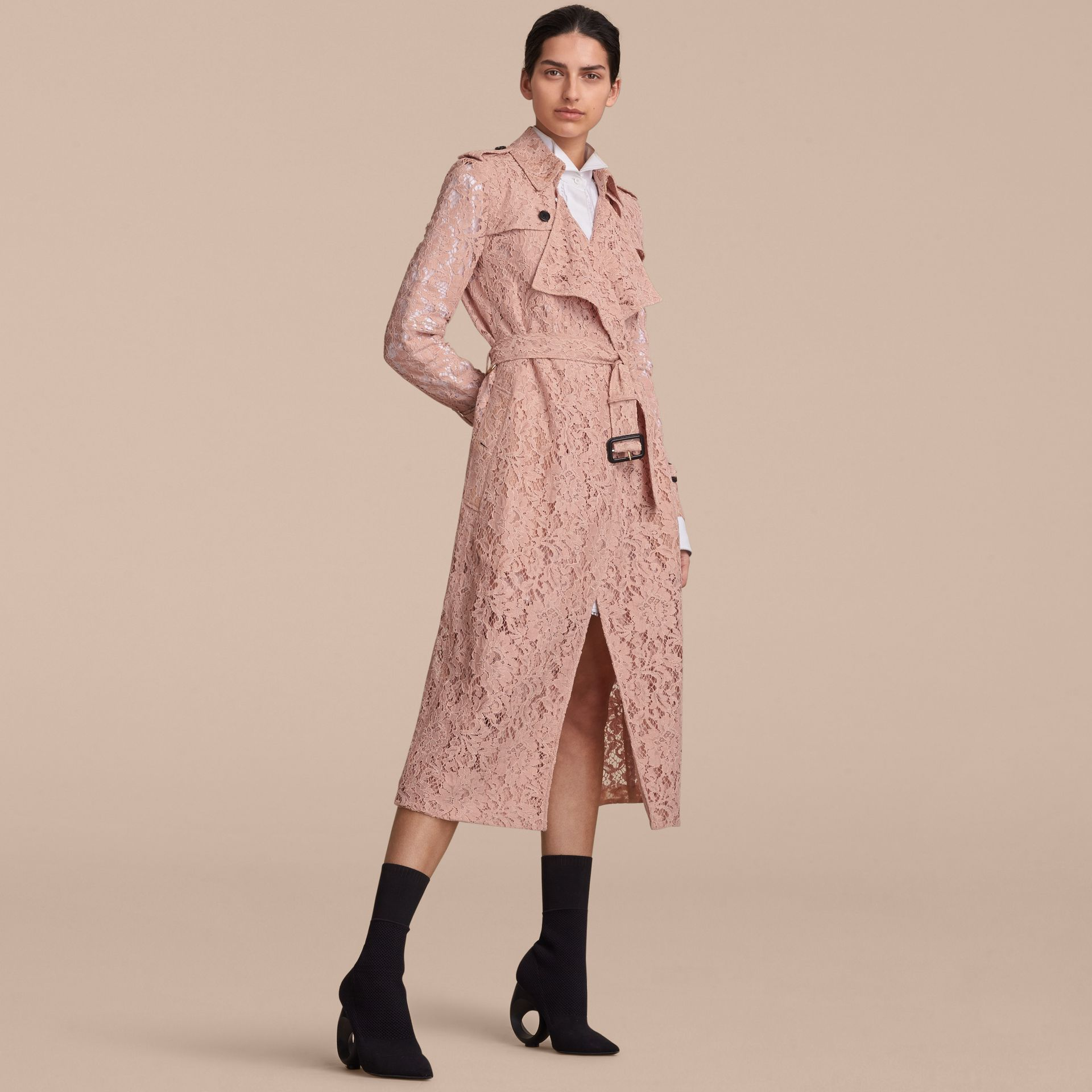 Macramé Lace Trench Coat Pale Pink - gallery image 7