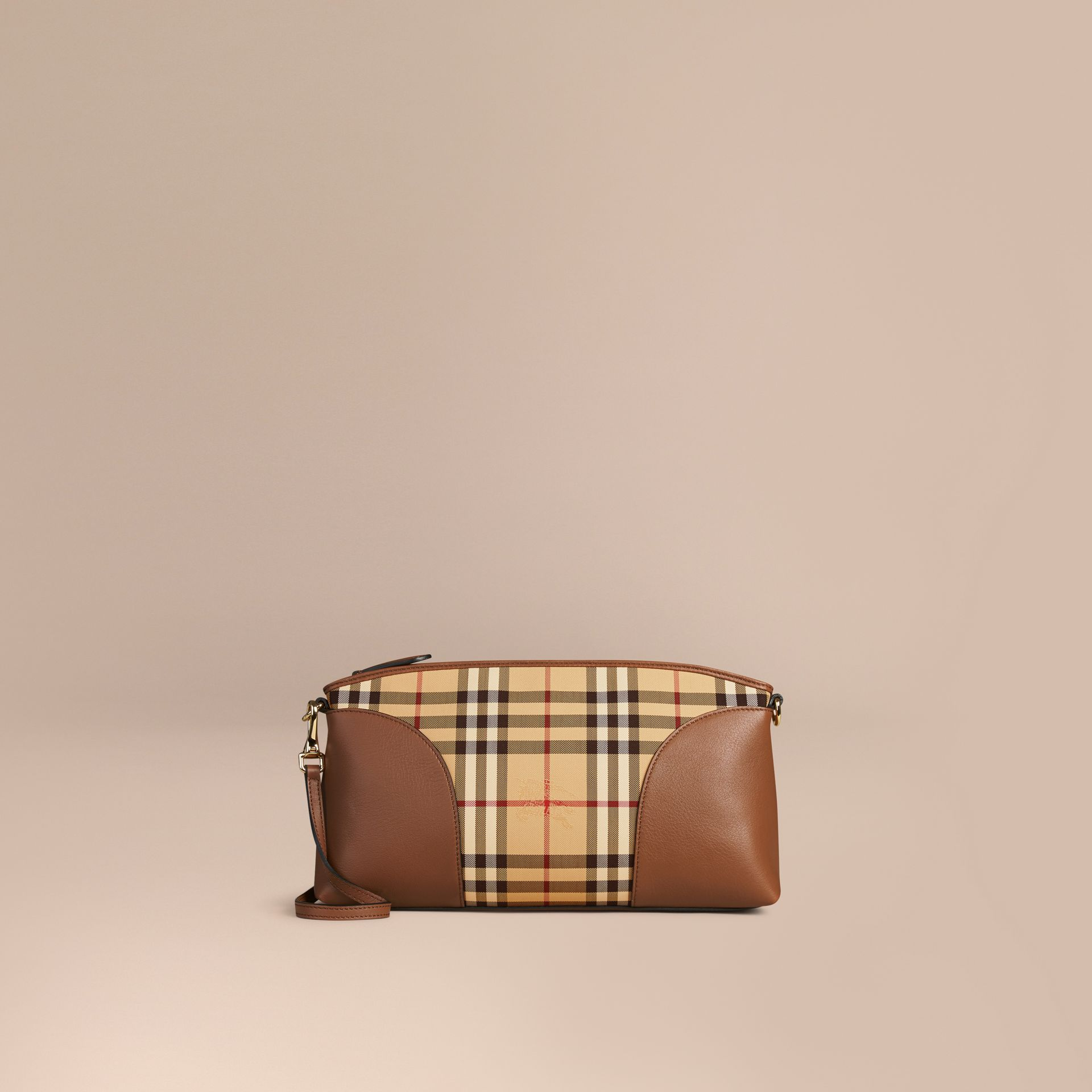 Honey/tan Horseferry Check and Leather Clutch Bag Honey/tan - gallery image 6