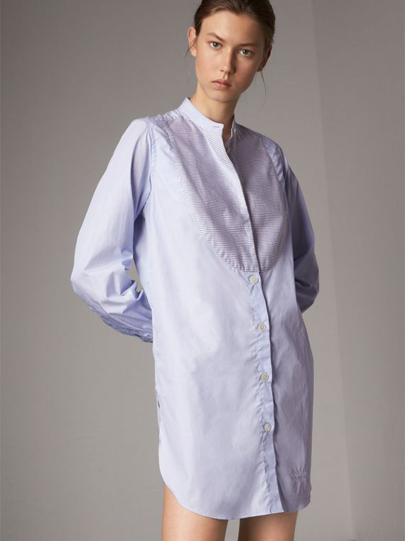 Bib Detail Cotton Longline Shirt in Pale Blue/white