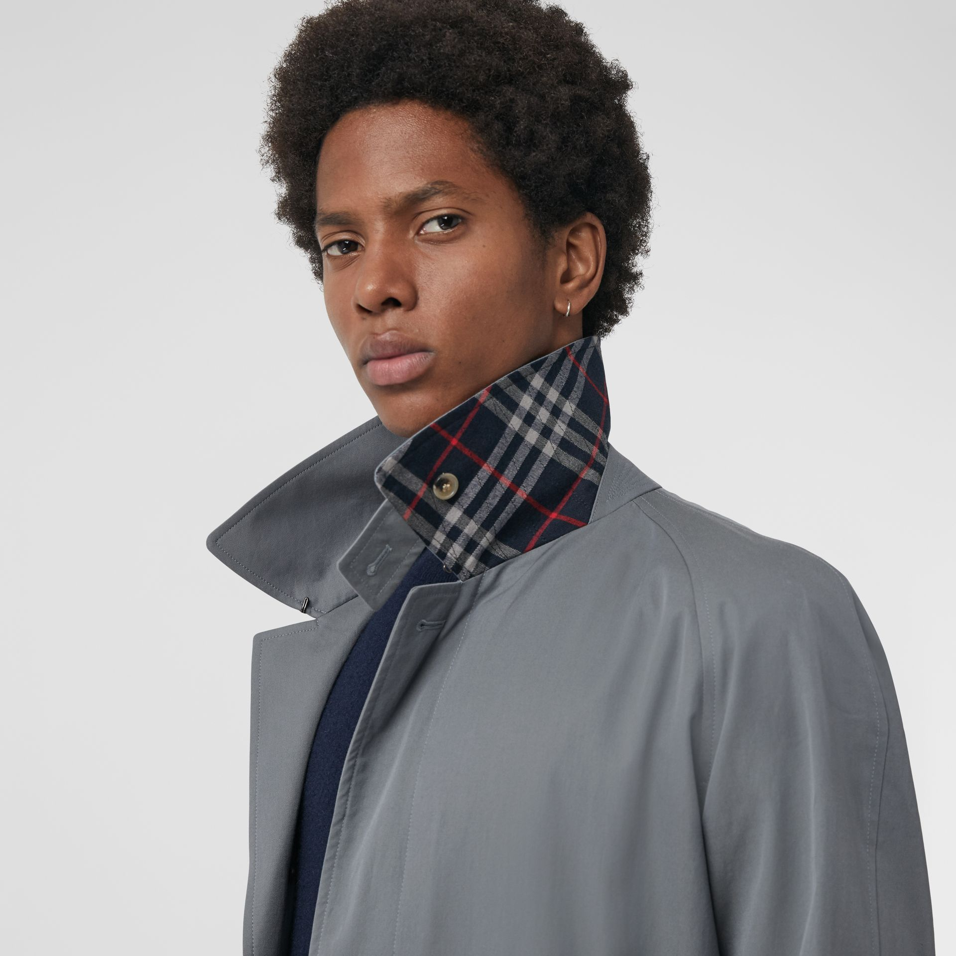 Archive Logo-lined Tropical Gabardine Car Coat in Dusty Blue - Men | Burberry United Kingdom - gallery image 1