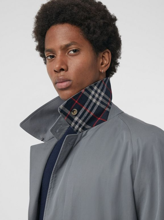 Archive Logo-lined Tropical Gabardine Car Coat in Dusty Blue - Men | Burberry Singapore - cell image 1