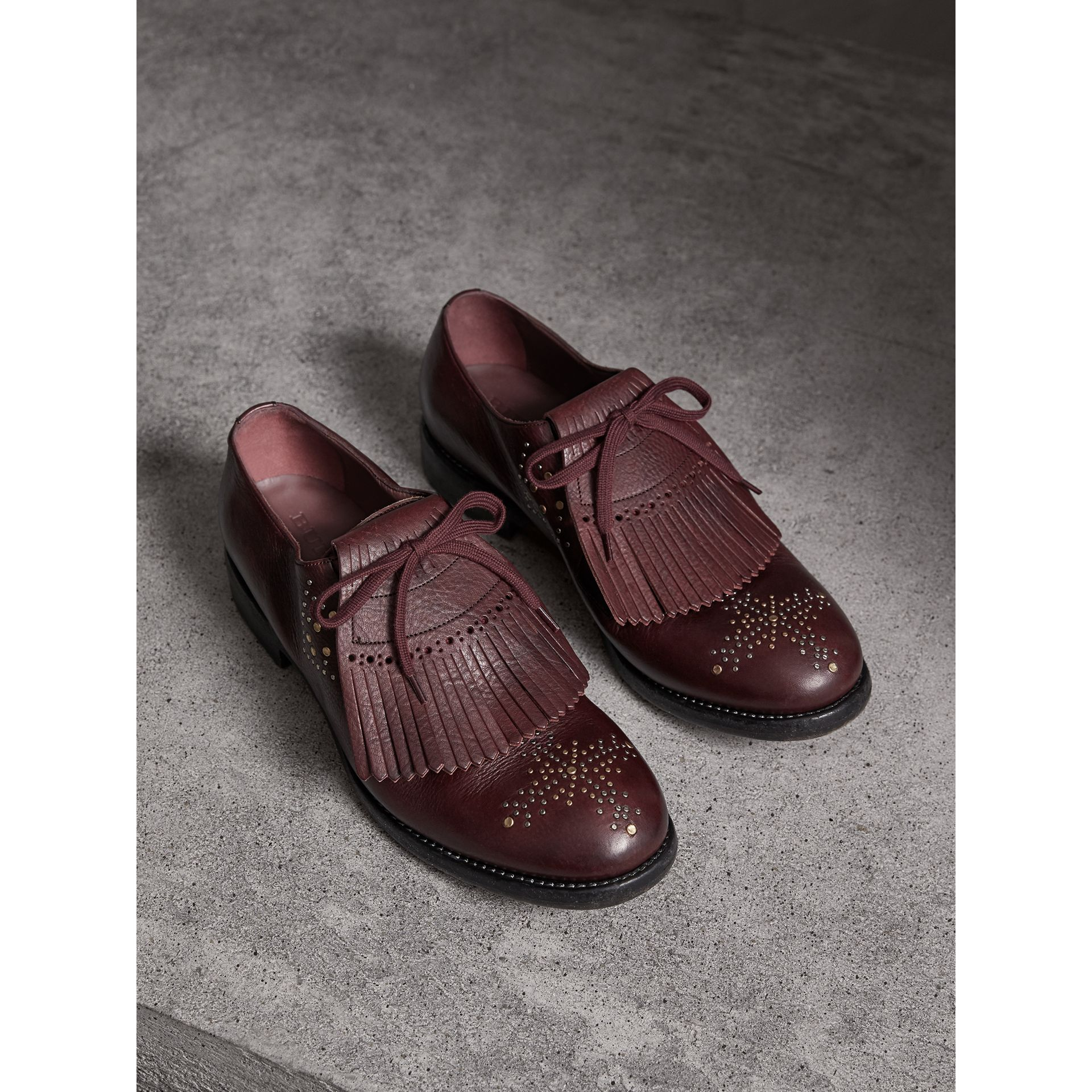 Lace-up Kiltie Fringe Riveted Leather Loafers in Cerise Purple - Men | Burberry United Kingdom - gallery image 0