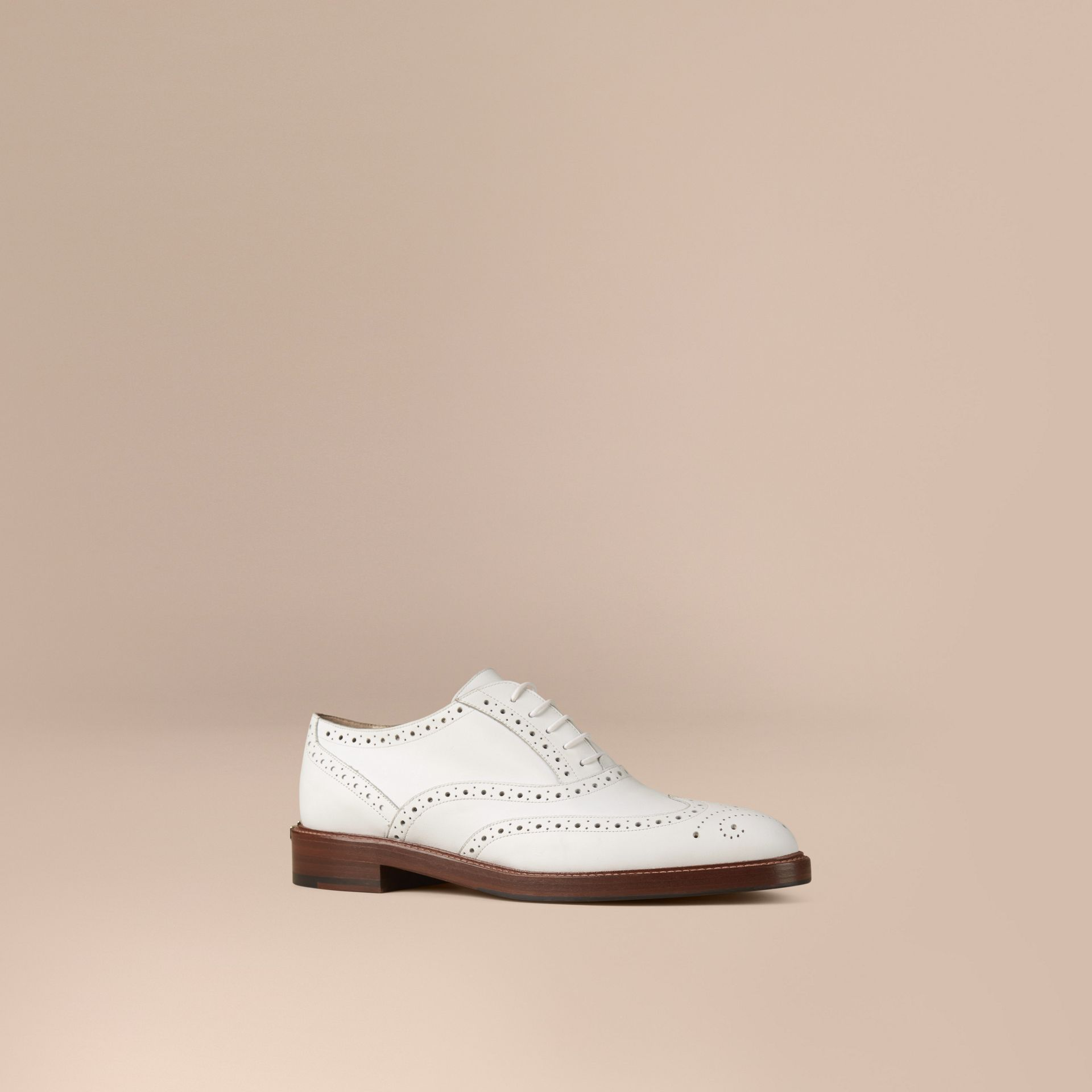 Optic white Leather Wingtip Brogues - gallery image 1