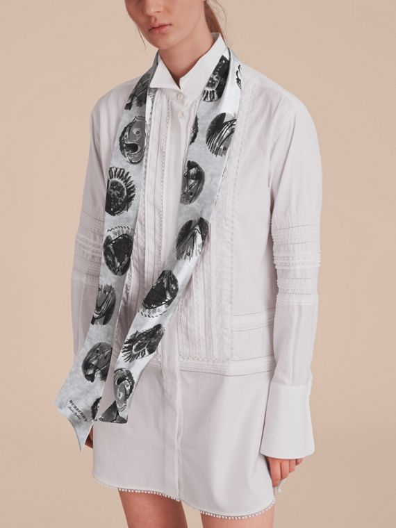 Pallas Heads Print Silk Slim Scarf in Grey - Women | Burberry - cell image 2