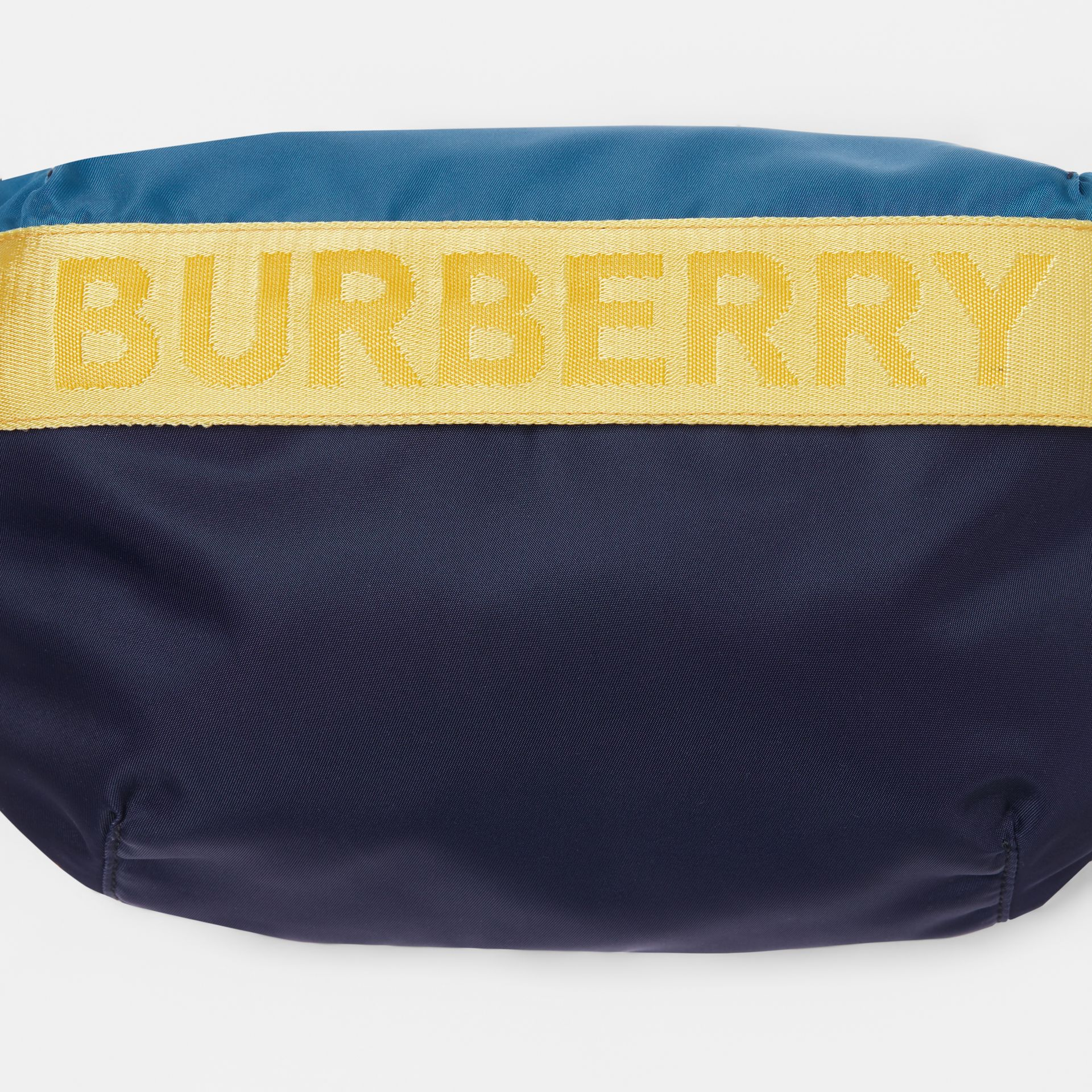 Medium Logo Detail Colour Block Bum Bag in Blue | Burberry - gallery image 1