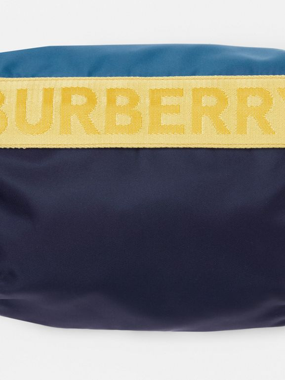 Medium Logo Detail Colour Block Bum Bag in Blue | Burberry - cell image 1