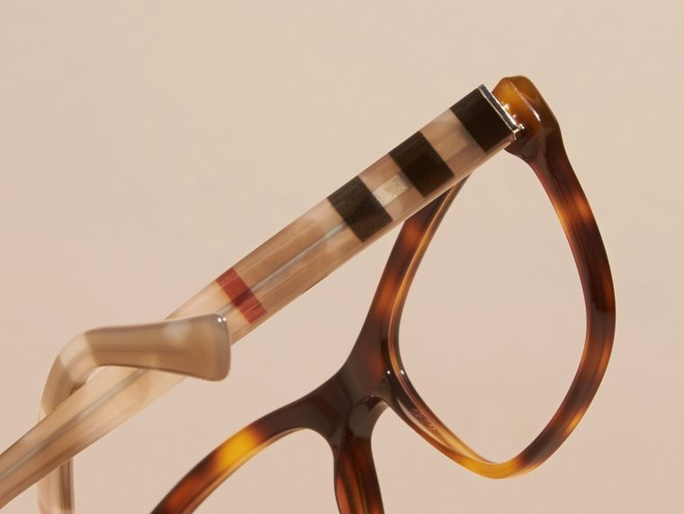 Check Detail Square Optical Frames Light Russet Brown - cell image 1