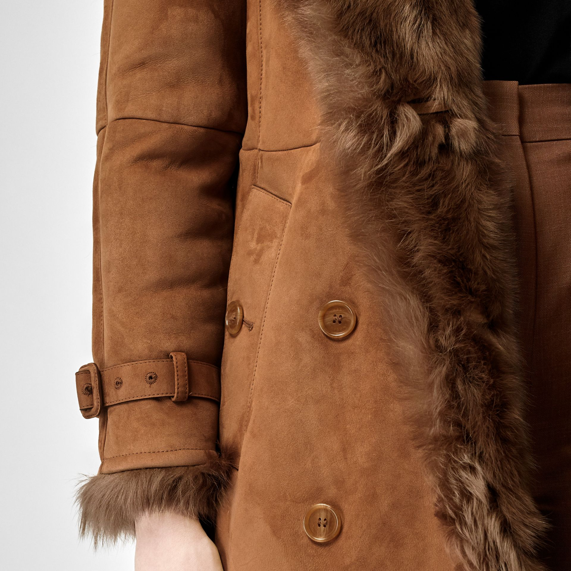 Shearling Trench Coat in Dark Camel - Women | Burberry Canada - gallery image 5