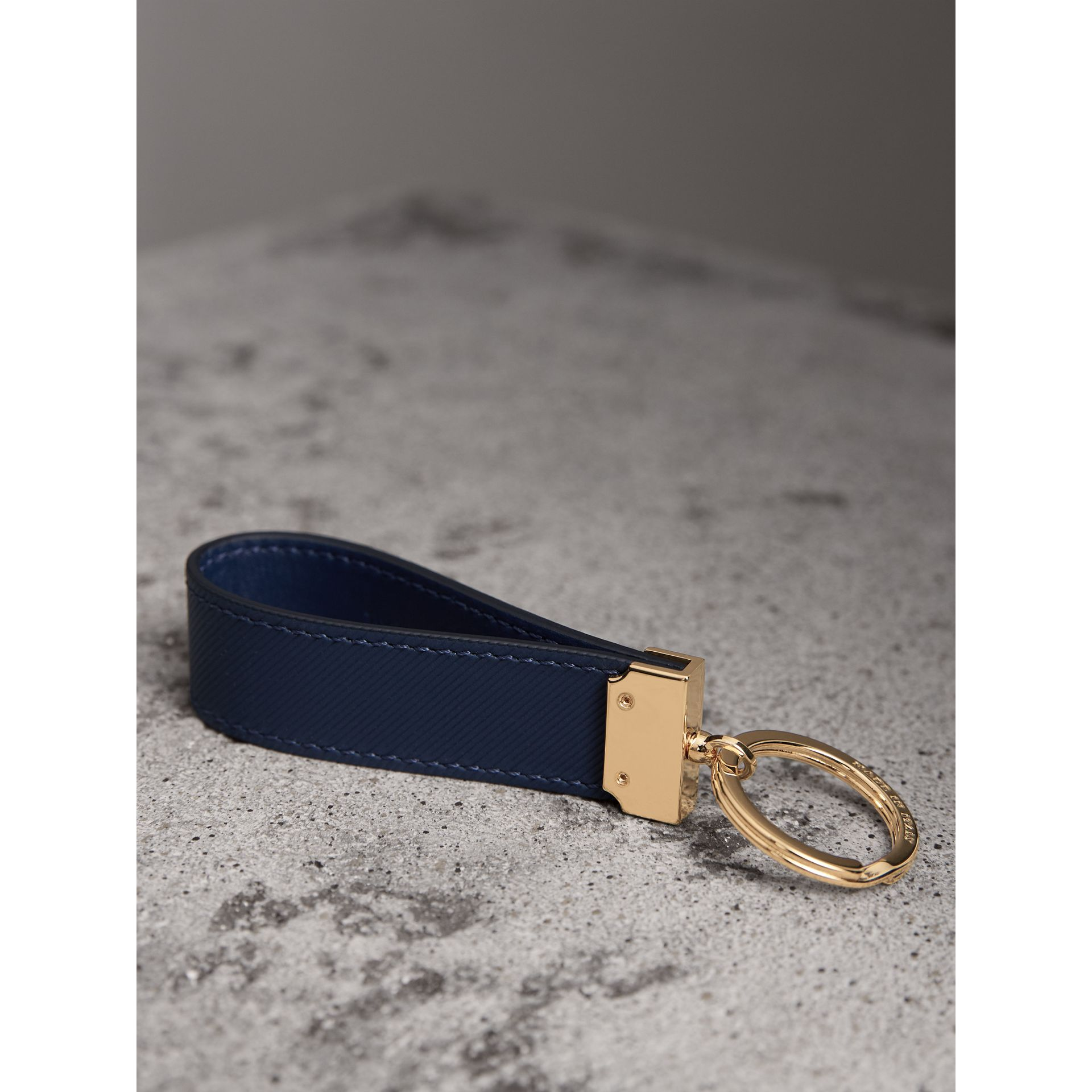 Trench Leather Key Ring in Ink Blue - Men | Burberry - gallery image 3