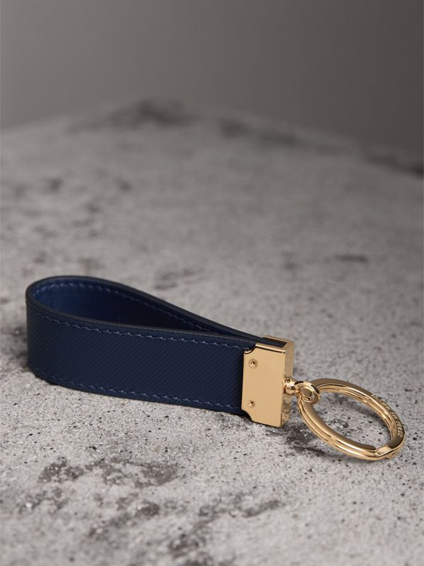 Trench Leather Key Ring in Ink Blue | Burberry United Kingdom - cell image 2