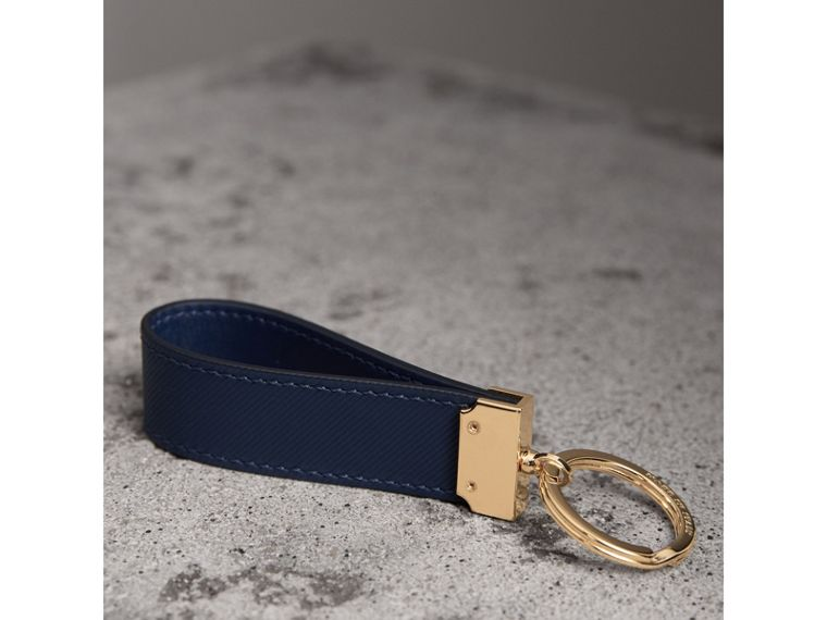 Trench Leather Key Ring in Ink Blue | Burberry - cell image 2