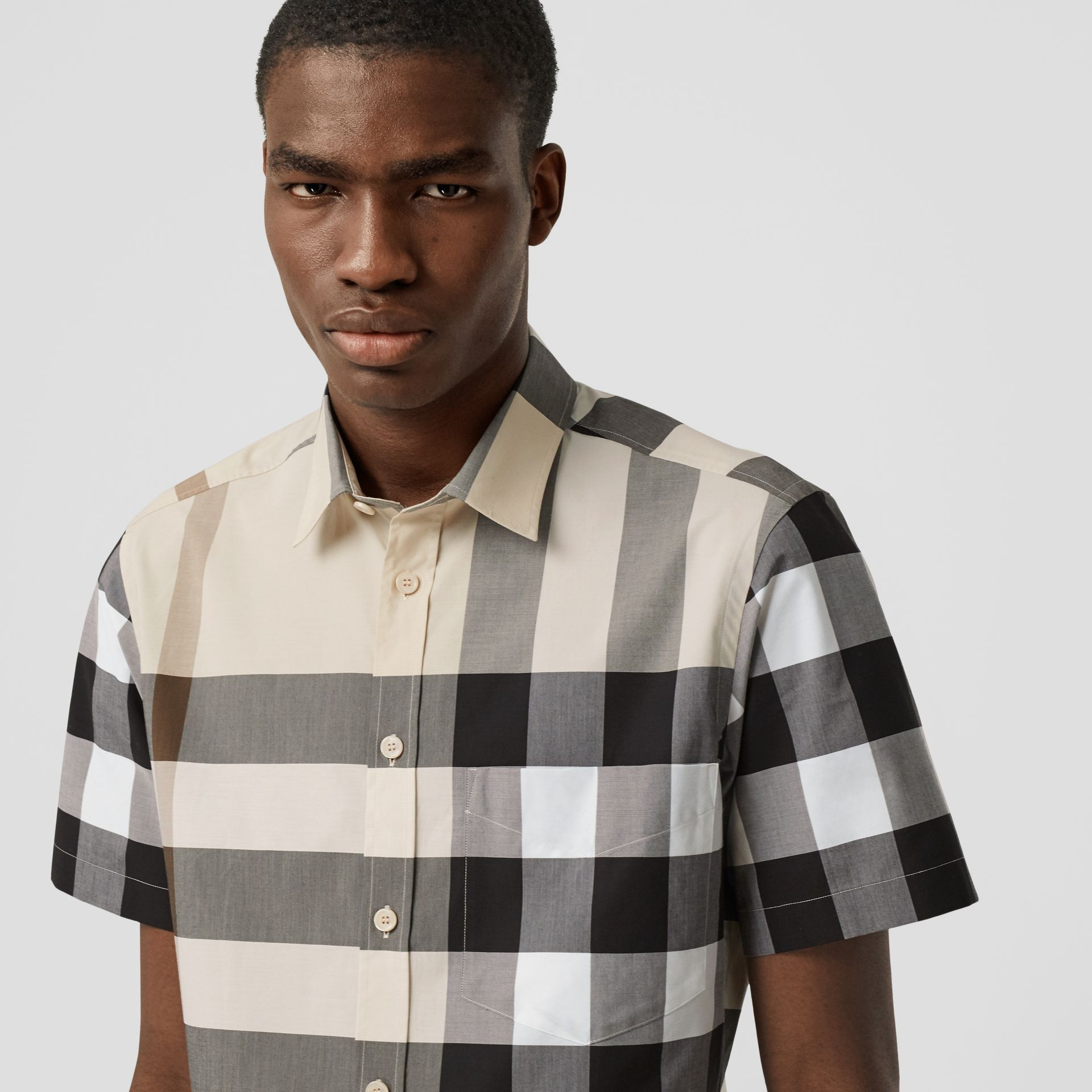 Short-sleeve Check Stretch Cotton Poplin Shirt in Modern Beige - Men | Burberry United Kingdom - gallery image 1