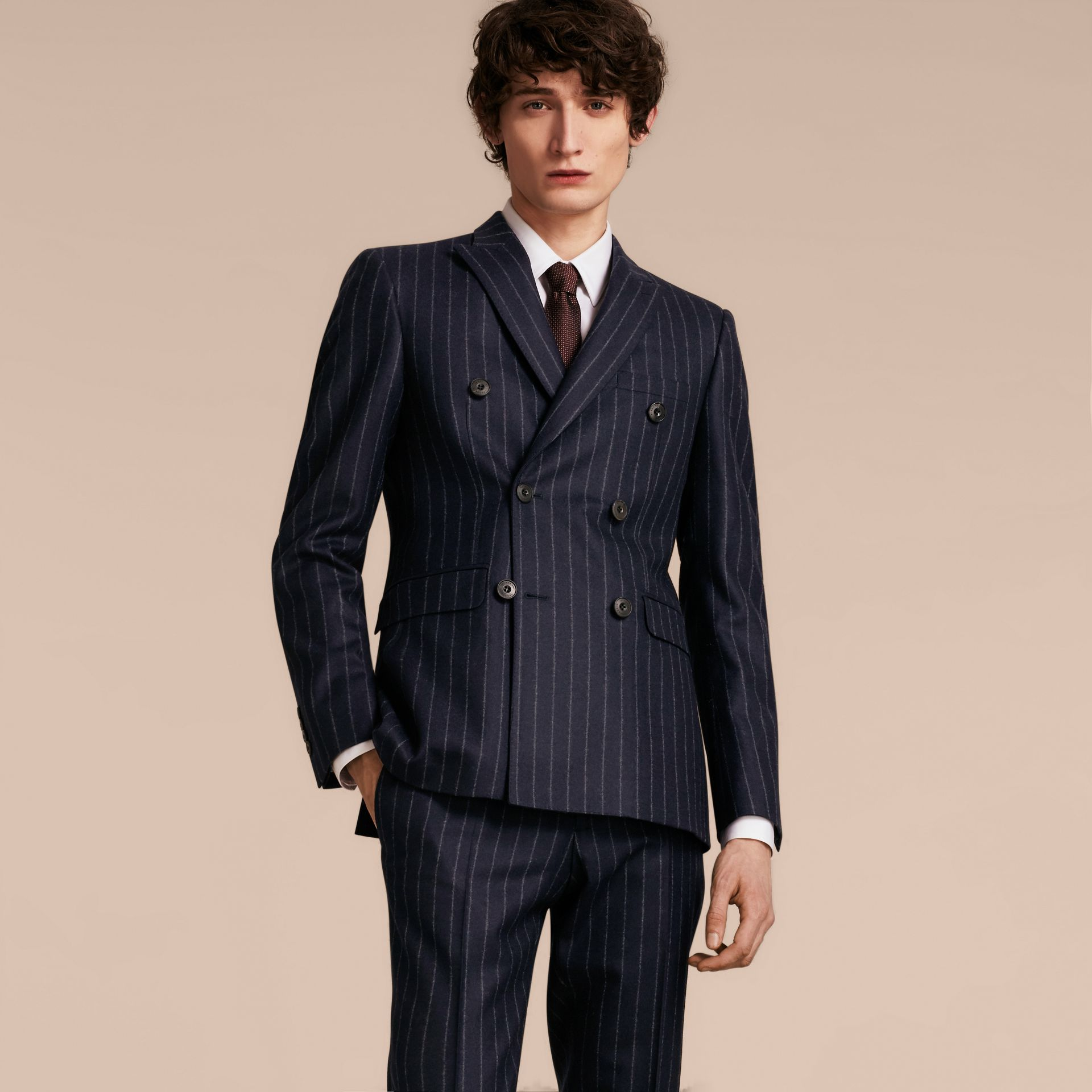 Slim Fit Double-breasted Pinstripe Wool Suit - gallery image 7