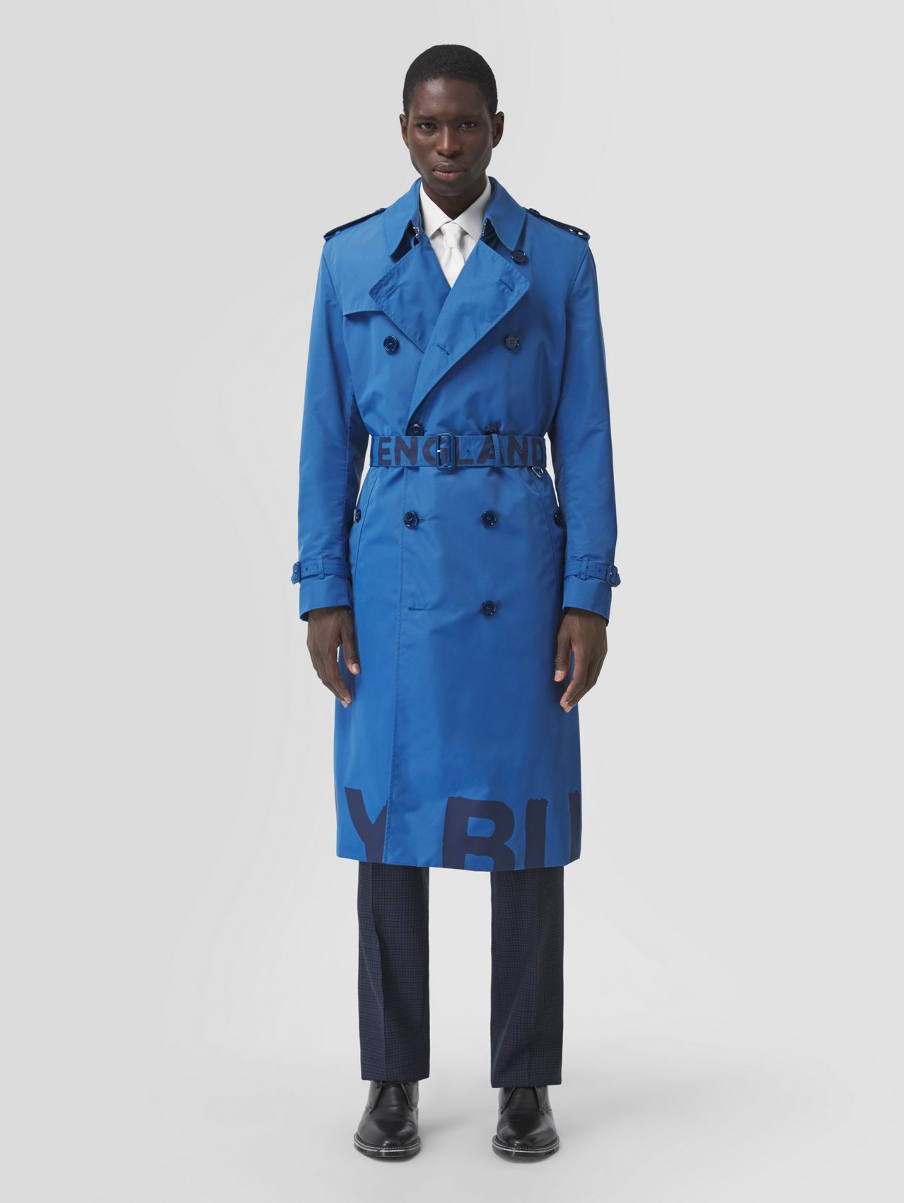 Logo Print Lightweight Trench Coat in Dark Cerulean Blue