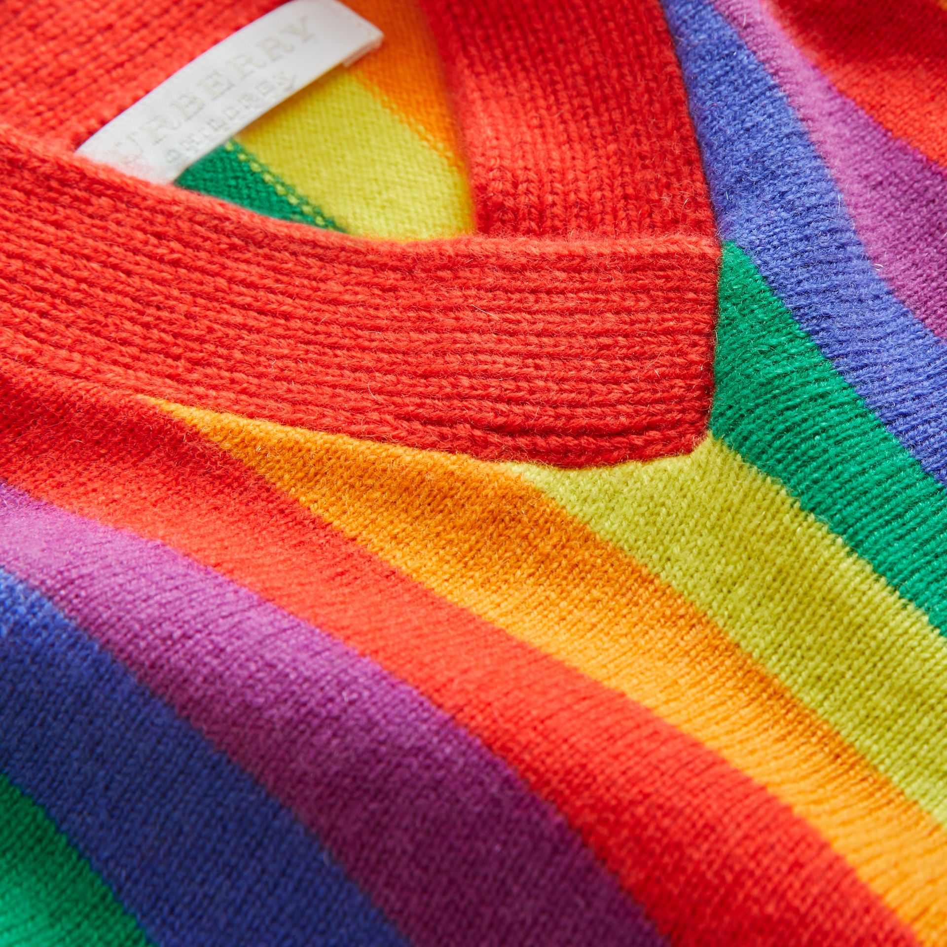 Striped Wool Cashmere Sweater Dress in Multicolour - Children | Burberry United Kingdom - gallery image 1