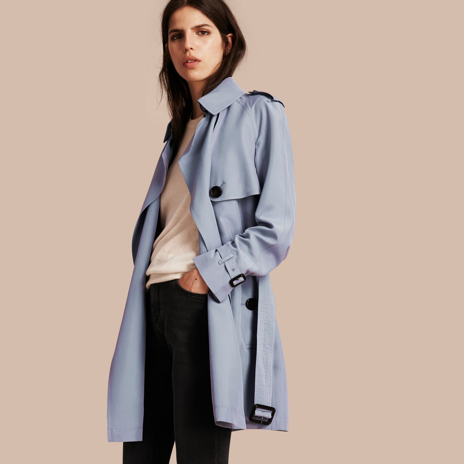 Pale blue Lightweight Slub Silk Wrap Trench Coat - gallery image 1