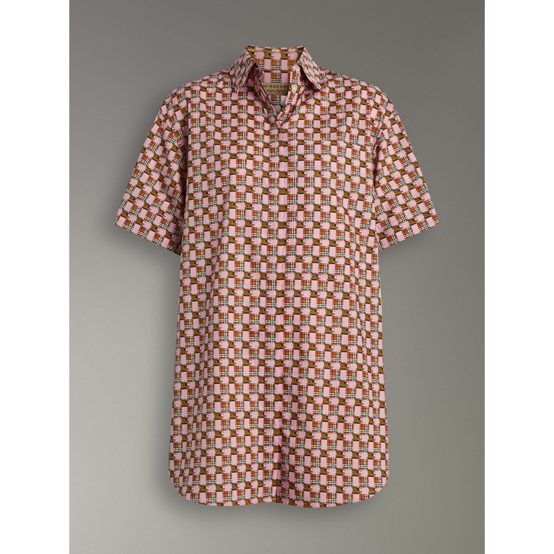 Short-sleeve Tiled Archive Print Cotton Shirt in Pink - Women | Burberry - gallery image 3