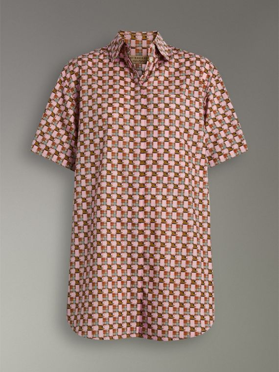 Short-sleeve Tiled Archive Print Shirt in Pink - Women | Burberry - cell image 3