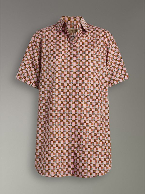 Short-sleeve Tiled Archive Print Cotton Shirt in Pink - Women | Burberry - cell image 3