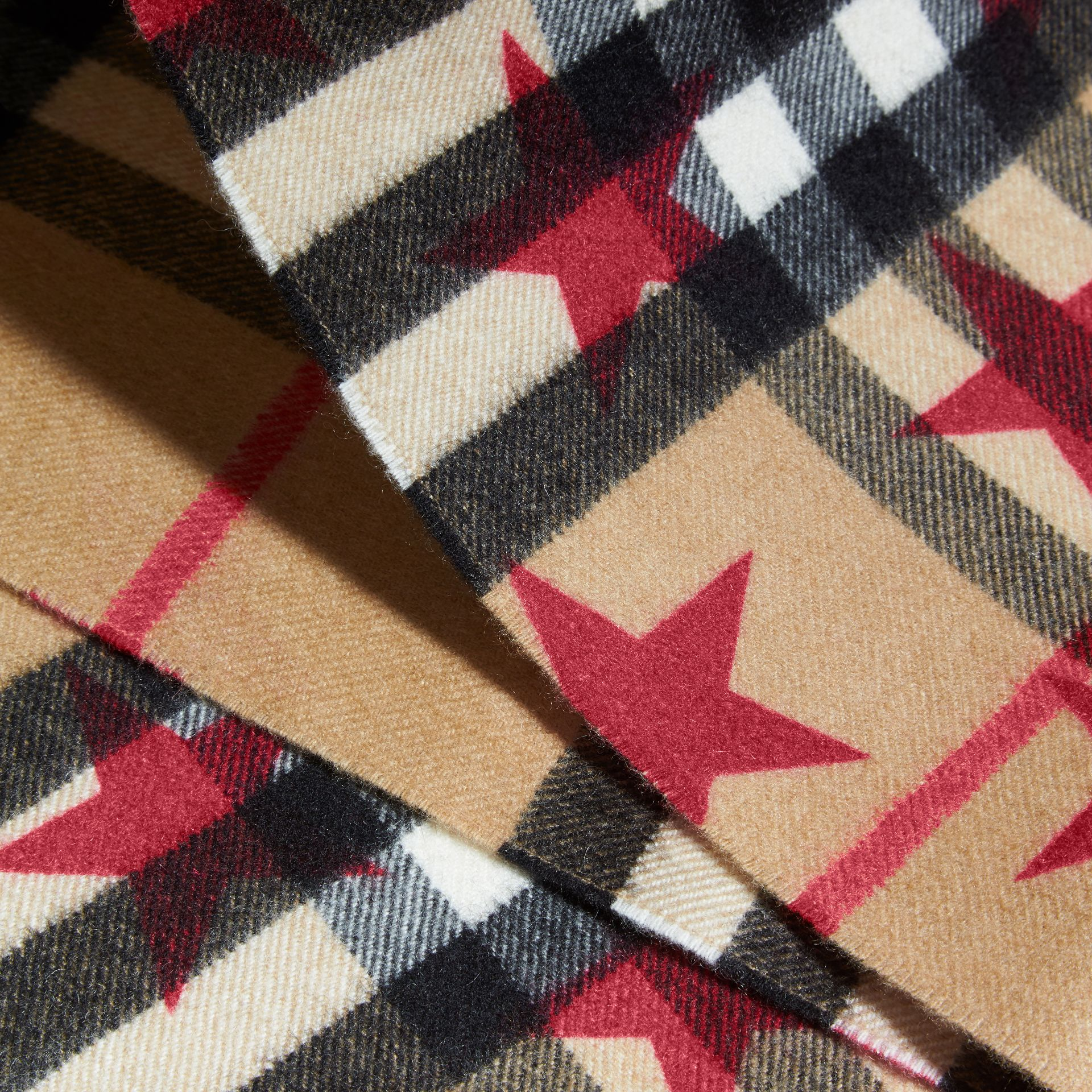 The Mini Classic Cashmere Scarf in Check with Star Print Fuschia - gallery image 3