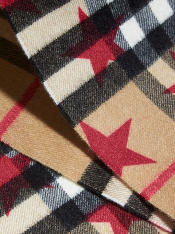 The Mini Classic Check Cashmere Scarf with Stars in Fuschia - Girl | Burberry - cell image 2