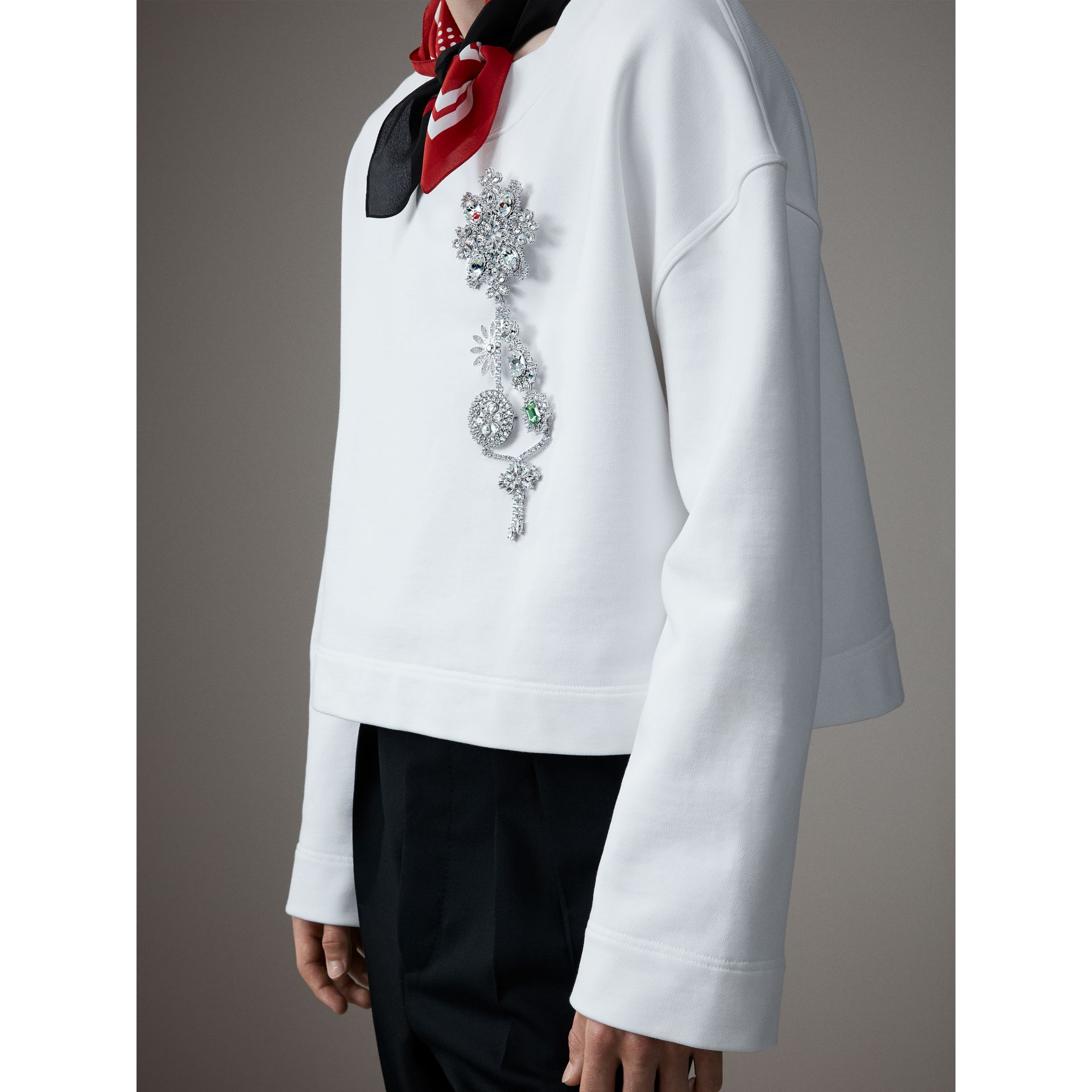 Cotton Cropped Sweatshirt with Crystal Brooch in Optic White - Men | Burberry United Kingdom - gallery image 1